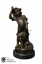 Auguste Moreau French (1826-1897) Bronze Figure Boy Walking Dog Statue Marble