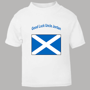 Personalised Scottish Flag with Message Name T Shirt for kids Named Tee Scotland