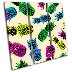 Pineapple-Cool-Funky-Fruit-Food-Kitchen-TREBLE-CANVAS-WALL-ART-Picture-Print