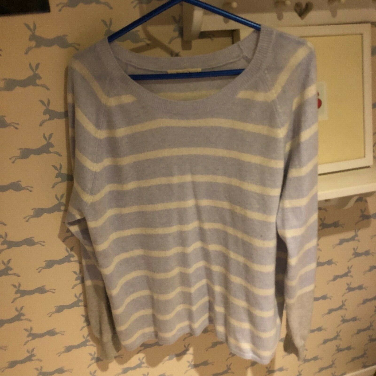 Authentic Duffy Cashmere Sweater Pale bluee Cream Grey Size Large RRP