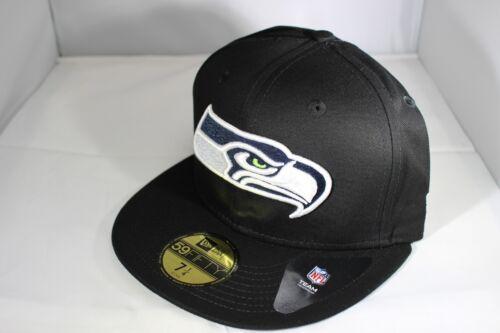 New Era 59Fifty Black Base Seattle Seahawks Fitted Cap Black BNWT