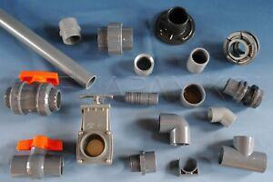 PVC-Rohr-Kugelhahn-Winkel-Klebe-Fitting-Muffe-Bogen-Durchfuehrung-12-200-mm