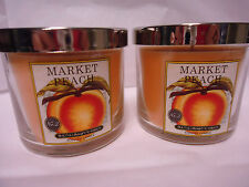 Bath & Body Works MARKET PEACH 4 oz jar 1 wick candle LOT of 2 Candles NEW