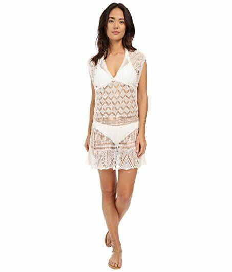 NWT  Red Carter Ivory White Crochet Knit Swimsuit Cover-Up Dress Women's XS