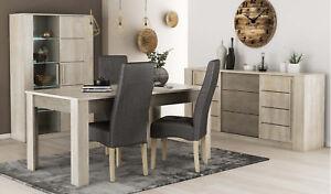 Pack salon comedor mesa extensible vitrina LED aparador y 4 sillas moderno