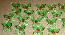 12 RARE Green Holly Poinsettia Light Bulbs Ceramic Christmas Tree Red Centers