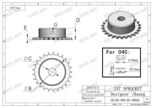 15 mm alésage 25 Dents Métal 25 T pilote motor gear Roller Chaîne Pignon