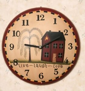 PRIMITIVE-COUNTRY-WALL-CLOCK-034-LIVE-LAUGH-LOVE-034-With-HOUSE-AND-WILLOW-TREE