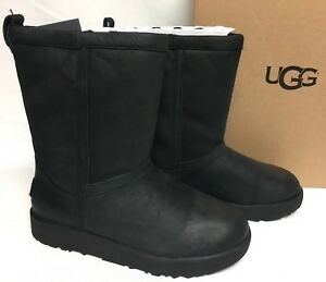6afa21f0e08 Details about UGG Australia CLASSIC SHORT LEATHER WATERPROOF SHEEPSKIN  BLACK BOOTS 1017509
