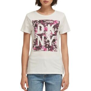 DKNY-NEW-Women-039-s-Short-Sleeve-Floral-Print-Logo-Casual-T-Shirt-Top-TEDO