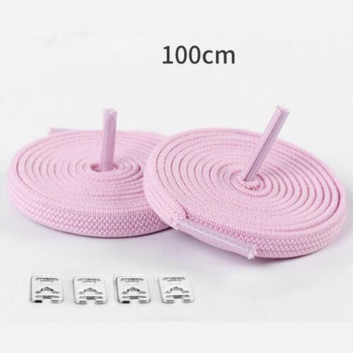 1pair 100CM No Tie Lazy Shoelaces Rubber Shoes Lace Safe Elastic Flat Shoelaces