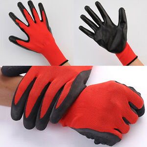 Schwarz-Rot-Sicherheits-Arbeitshandschuhe-Griff-Montagehandschuhe-Nylon-Latex