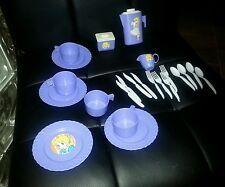 CHILD'S purple white plastic TEA SET for dolls Super cute J13