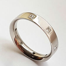 Platinum & Diamond Flat Court 5mm Wedding Band Ring 0.4Ct - Size R (Mens Ladies)