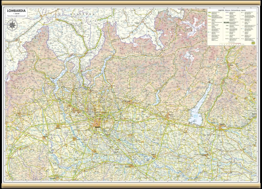 Cartina Dati Lombardia.Lombardia Carta Regionale Murale 97x70 Cm Mappa Cartina