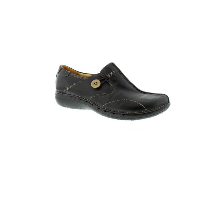 97b0bbe4f1d0 Ladies Clarks Unstructured Un Loop Leather Slip on Shoes UK 7 Black ...