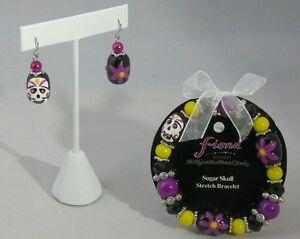 Halloween-Skull-Bracelet-Earrings-Set-Black-Purple-White-Bead-Costume-Accessory