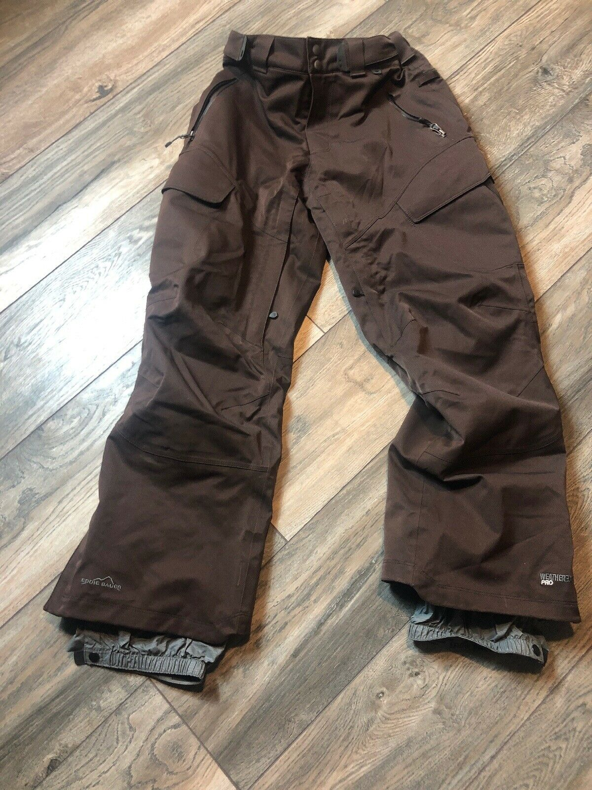 MenS Eddie Bauer Lot Weather Edge Pro Snowboard Pants braun Sz S Excellent Item
