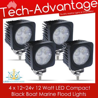 12V~24V BLACK 12 WATT BOAT//FLYBRIDGE//DECK//TRUCK//MARINE FLOOD WORK LED LIGHT