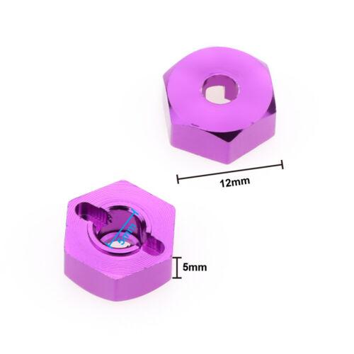4pcs machined alloy wheel hub hex adaptor 12mm//5mm for rc hobby model car 1-14