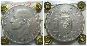 Europe-Espagne-5-Pesetas-1885-Alfonso-XII-Madrid-km-688-Expertise-Nip