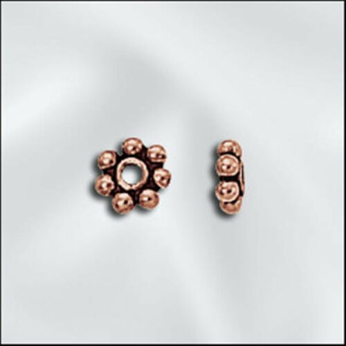 10 4mm Genuine Antiqued Copper Bali Style Daisy Spacers Beads