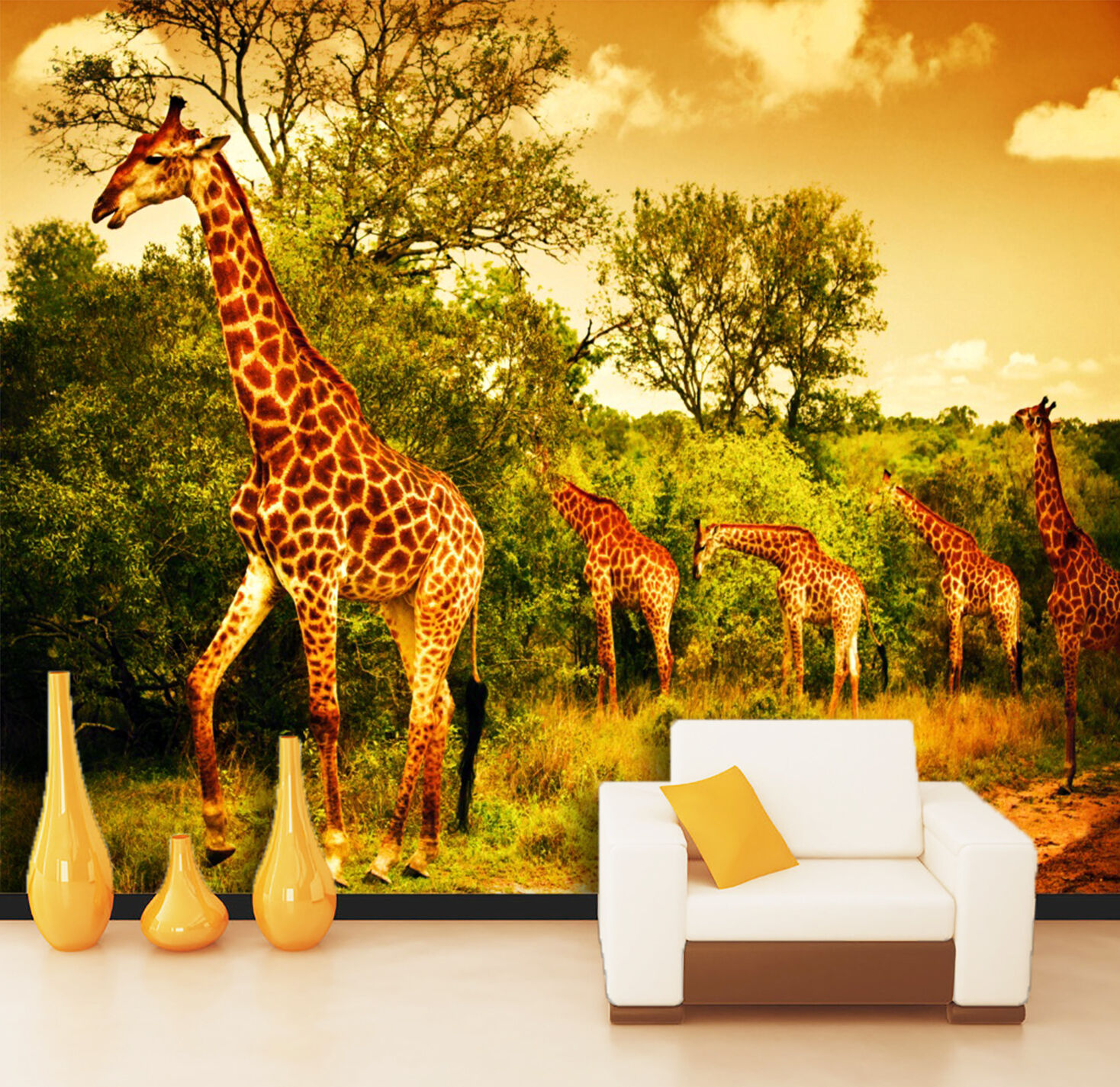 3D Elegant Giraffes 038 WallPaper Murals Wall Print Decal Wall Deco AJ WALLPAPER
