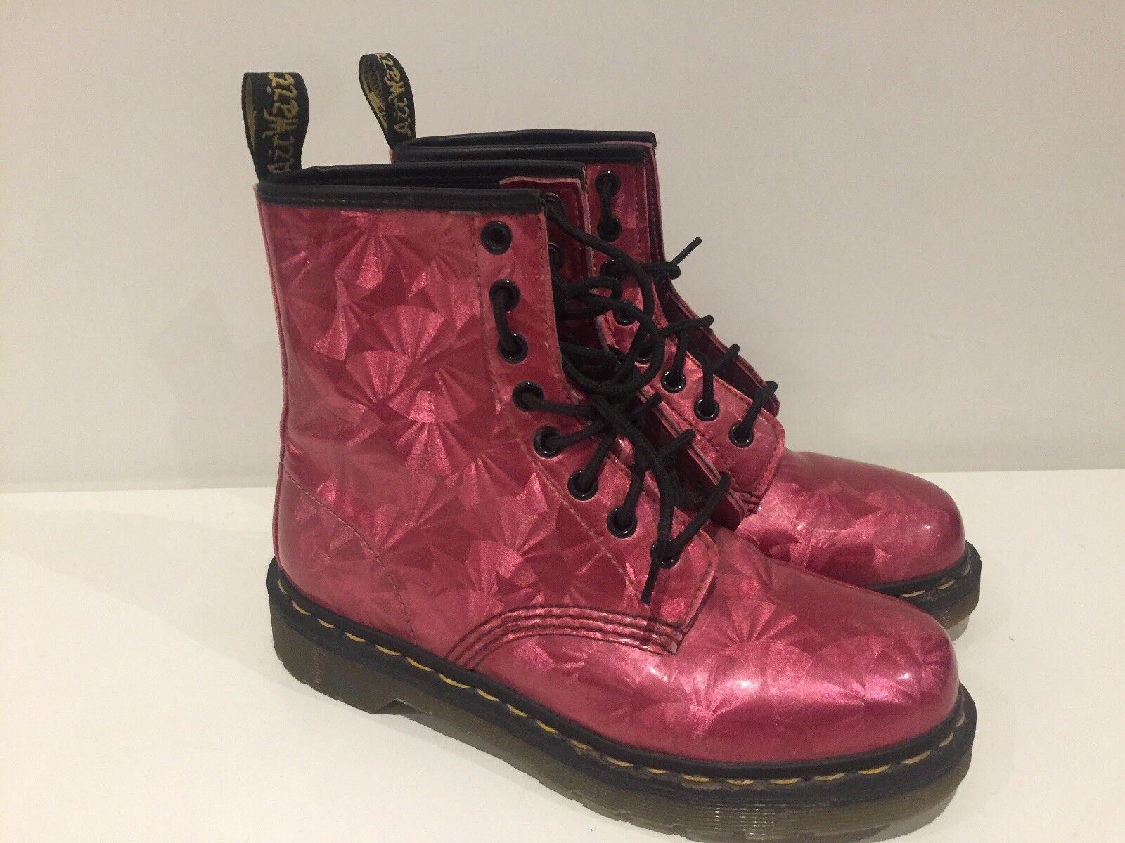 Womens Pink Jewel Hologram Dr Martens Ankle Boots EU38 1460