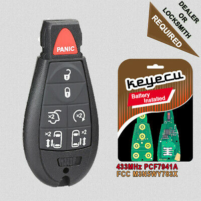 Smart Remote Key Fob 3+1 Button 433MHz ID46 Chip for Chrysler Dodge Jeep Uncut