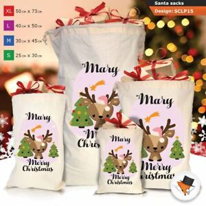 Personalizzato-ragazza-Renna-Natale-Xmas-Babbo-Natale-sacco-per-regalo-calza