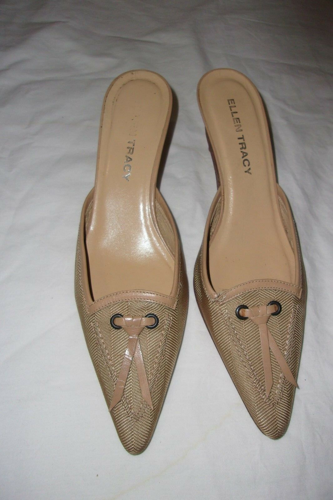 ELLEN TRACY TAUPE TEXTILE AND LEATHER WOMEN'S POINTY TOE SLIDES SIZE 7.5 B