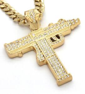 Mens-Gold-Iced-Out-Sub-Gun-Uzi-Pendant-Hip-Hop-30-034-Cuban-Necklace-Chain