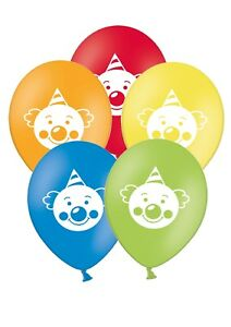 "Cute Clown Rainbow Set 12/"" Printed Latex Assorted Balloons Pack of 25"