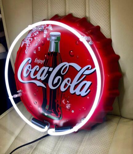 """Luz De Neon Coca Cola Coke Tampa De Garrafa Bebida Refrigerante Pepsi Brinquedo De Metal Em Estanho sinal 13""""x13/"""""""