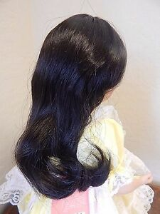 "DENISE Long Wavy Synthetic Doll Wig by Monique Size 10-11"" Dark Brown, NOS"