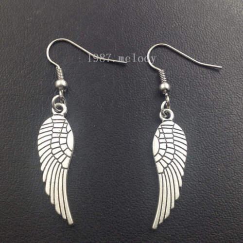 Wings earrings,Silver handmade ear stud,Fashion charm jewelry pendants,Gift