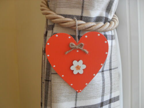 hearts only 2 Orange /& White Wooden Heart Curtain Tie Back Accessories Any Col