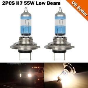 2pcs h7 55w high power halogen bulb 6000k high beam low beam headlight lamps set ebay. Black Bedroom Furniture Sets. Home Design Ideas