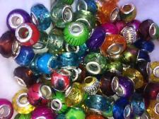 100 Big Hole Beads 10 kinds of Acrylic & or alum beads  USA SELLER