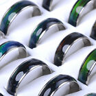 H 10Pc Lots Wholesale Jewelery Bulks Mixed Change Color Silver Plated Mood Rings