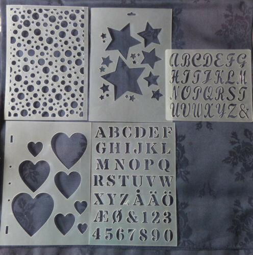Set of 5//Plastic//Embossing//Stencil//Heart//Star//Circle//Alphabet//See description