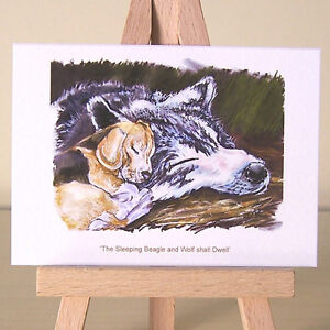 Fantasy-sleeping-Wolf-Art-and-Beagle-Puppy-Dog-ACEO-Art-Card