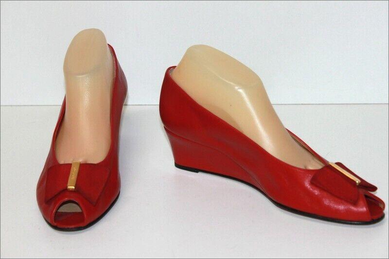 Bally Pumps Vintage Alle Leder Rot Keilabsätze T 8 E   42 Fr Seht Guter Zustand