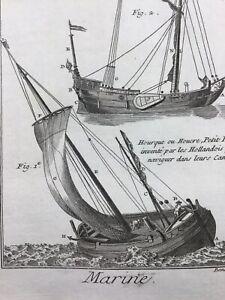 Marine-en-1778-Hourque-Yacht-Navigation-Rare-Gravure-ancienne-maritime-Voilier
