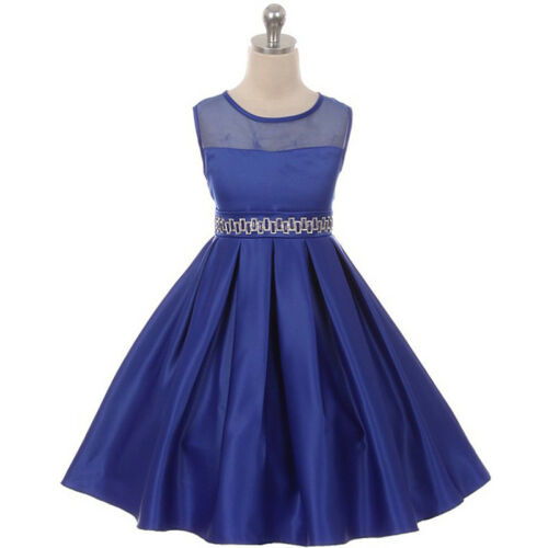 ROYAL BLUE Flower Girl Dress Graduation Wedding Birthday Recital Gown Bridesmaid