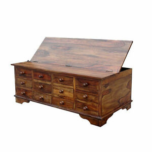 Brand new solid sheesham wood storage chest 12 drawers for 12 drawer coffee table