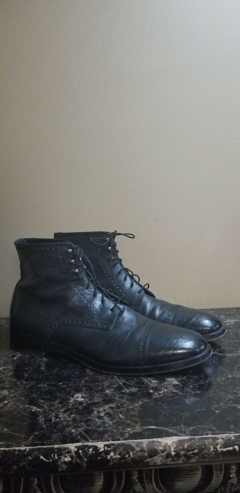 Antonio Maurizi Con Cordones Cuero Negro Puntera botas 45 US 12 Militar Jumper