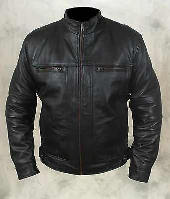Mens Stylish Fashion Real Sheep Leather Biker Jacket with 2 Flat Front Pockets