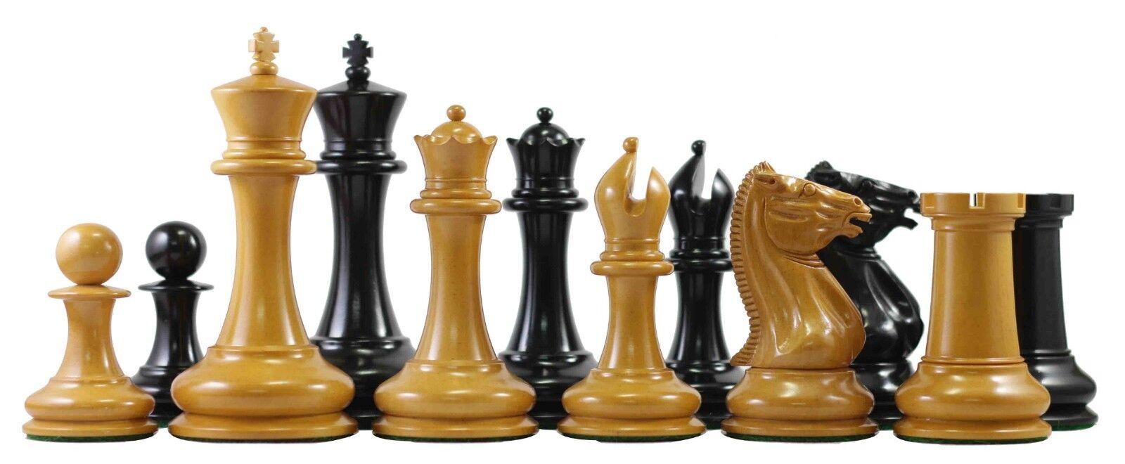 Vintage 1849-50 Reproduction Antique Morphy  Cooke 4.4  Ebony Pièces d'échecs  service de première classe