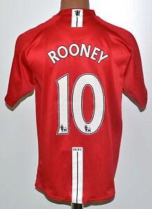 Manchester-United-2007-2008-2009-Calcio-Casa-Maglietta-Nike-Rooney-10-Taglia-M